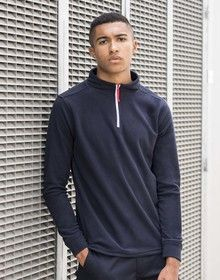 1/4 ZIP L/SLEEVED PIPED FLEECE NAVY/WHITE/RED  M'