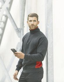1/4 ZIP SWEATSHIRT BLACK/RED  XL'