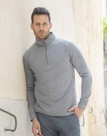 1/4 ZIP TOP WICKING FINISH GREY MARL  XS'