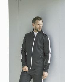 ADULTS KNITTED TRACKSUIT TOP BLACK/GUNMETAL  XS'