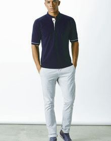 BUTTON DOWN CONTRAST POLO NAVY/LIGHT BLUE  L'