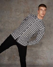 CHECKED COTTON SHIRT BLACK CHECK  XXL'