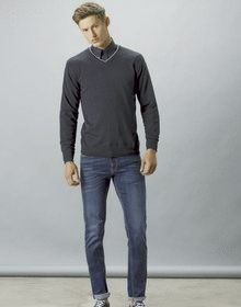 CONTRAST ARUNDEL L/S SWEATER NAVY/SILVER GREY  XL'