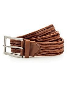 FAUX LEATHER BRAID BELT TAN  L'