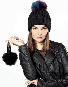FUR POP POM KEY RING LUNA  ONE'