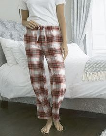 GALS FLANNEL PANT RED/PINK  L'