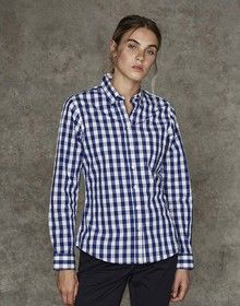 LADIES CHECKED COTTON SHIRT BLUE/WHITE  XS'