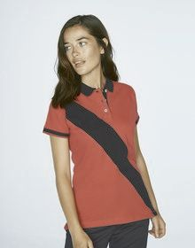 LADIES DIAGN STRIP HOUSE POLO BRIGHT PINK/NAVY  XS'
