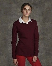 LADIES LIGHTWEIGHT PLAIN RUGBY RED/WHITE  L'