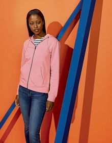 LADIES ORGANIC HOODIE HEATHER  XS'