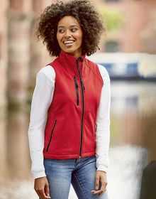LADIES SOFT SHELL GILET        CLASSIC RED  XS'