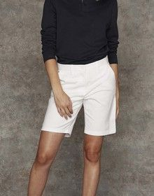 LADIES STRETCH CHINO SHORTS WHITE  L'