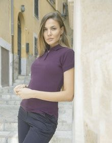 LADIES STRETCH PIQUE POLO NAVY  M'