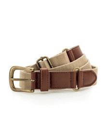 LEATHER & BRAID BELT KHAKI  L'