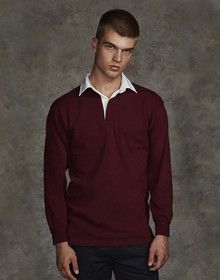 LONG SLEEVE PLAIN  RUGBY SHIRT DEEP BURGUNDY/WHITE  S'