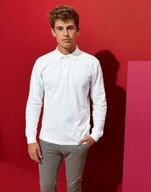 MENS CLASSIC FIT L/S POLO WHITE  5XL'
