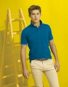 MENS CLASSIC FIT TIPPED POLO LIME/NAVY  S'