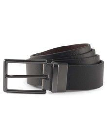MENS TWO WAY LEATHER BELT BLACK/BROWN  ONE'
