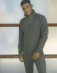 SOPHOMORE 1/4 ZIP SWEAT CHARCOAL  L'